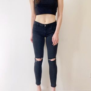 Free People Gray Black Low Rise Ripped Skinny Jean